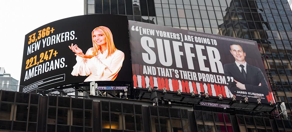 A new billboard in Times Square by The Lincoln Project depicts Ivanka Trump presenting the number of New Yorkers and Americans who have died of COVID-19 and Jared Kushner next to a Vanity Fair quote.