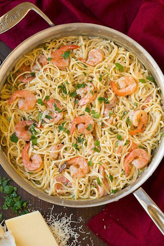 """<p>Every bite of this pasta is bursting with fresh seafood flavor.</p><p><strong>Get the recipe at <a href=""""https://www.cookingclassy.com/one-pan-creamy-parmesan-linguine-shrimp/"""" rel=""""nofollow noopener"""" target=""""_blank"""" data-ylk=""""slk:Cooking Classy"""" class=""""link rapid-noclick-resp"""">Cooking Classy</a>.</strong></p>"""