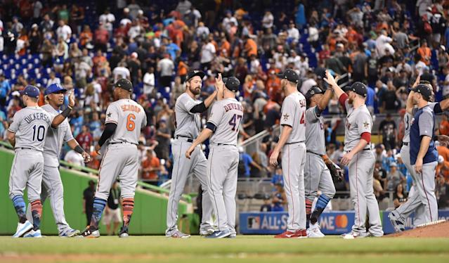 <p>American League players celebrate on the field after defeating the National League in the 2017 MLB All-Star Game at Marlins Park. (Steve Mitchell-USA TODAY Sports) </p>
