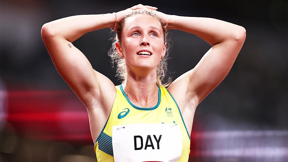 Riley Day (pictured) looks on at her time after the women's 200m semi-final at the Tokyo Olympics. (Getty Images)