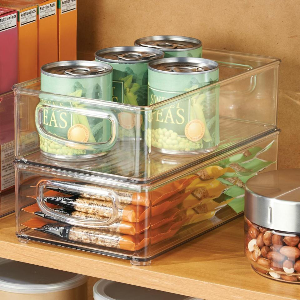 "<h2>iDesign Fridge/Freeze Binz</h2><br>These versatile bins are made of durable, clear plastic and are perfect for showcasing canned sparkling drinks and granola bars. <br><br><strong>iDesign</strong> Fridge/Freeze Binz, $, available at <a href=""https://go.skimresources.com/?id=30283X879131&url=https%3A%2F%2Fwww.wayfair.com%2Fkitchen-tabletop%2Fpdp%2Fidesign-fridgefreeze-binz-iti3238.html"" rel=""nofollow noopener"" target=""_blank"" data-ylk=""slk:Wayfair"" class=""link rapid-noclick-resp"">Wayfair</a>"
