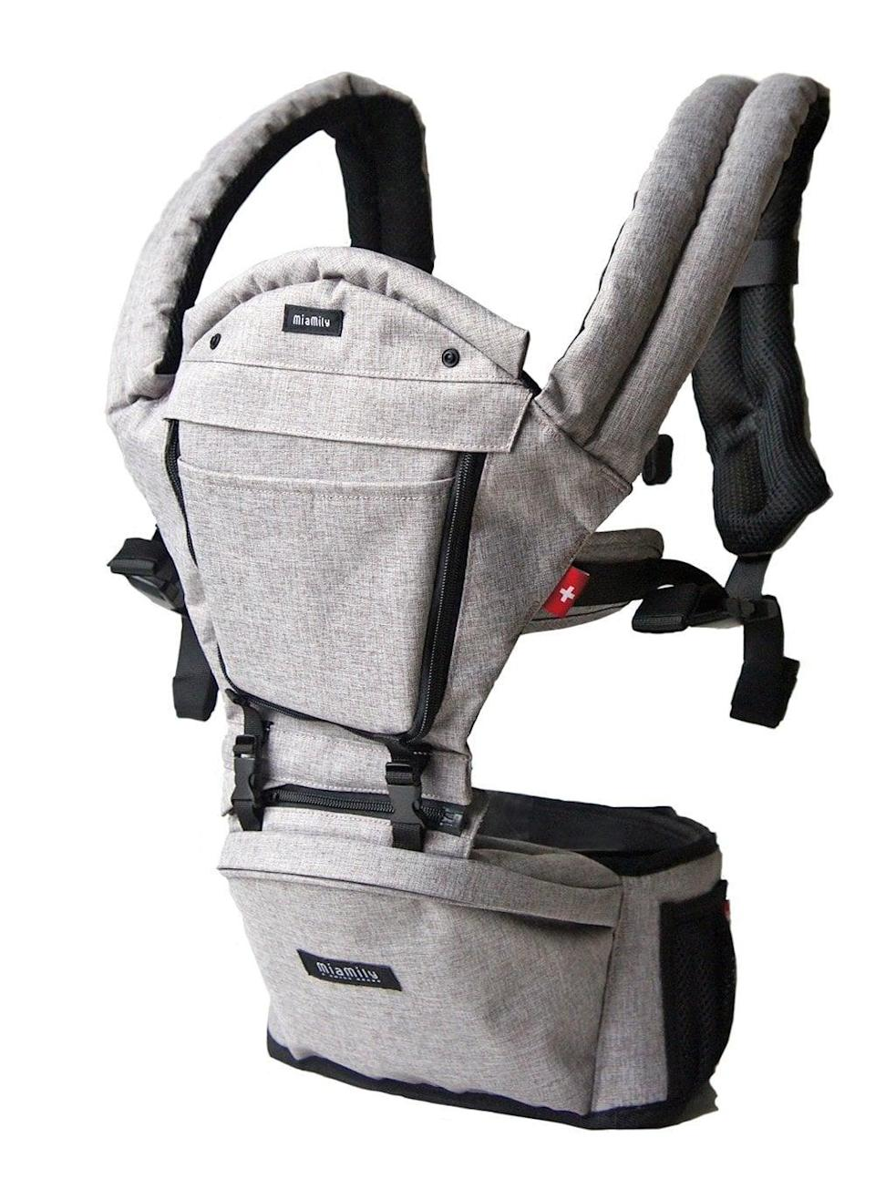 """<p>While there are many types of carriers, the <span>MiaMily Carrier</span> ($128) has a built-in ergonomic hip seat, a hidden storage pocket, and a seat for your baby to sit on, which helps redistribute weight. This <a href=""""https://www.popsugar.com/family/MiaMily-Baby-Carrier-Review-45067803"""" class=""""link rapid-noclick-resp"""" rel=""""nofollow noopener"""" target=""""_blank"""" data-ylk=""""slk:carrier is perfect for parents who want more support and storage"""">carrier is perfect for parents who want more support and storage</a>. </p>"""
