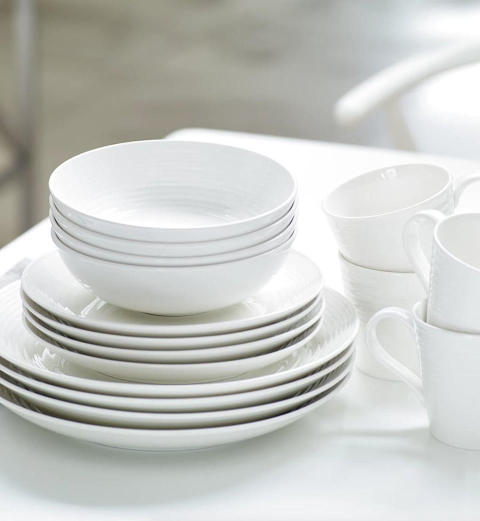 <p>Level up your dinnerware with these sleek and stylish <span>Gordon Ramsay Royal Doulton 16-Piece Set</span> ($125). It comes with four dinner plates, four salad plates, four all purpose bowls and four mugs. It also comes in a light pastel blue, and a dark grey shade as well.</p>