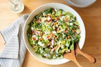 <p>In place of bacon, this satisfying salad uses store-bought crispy chickpeas for lower saturated fat and less prep time. Using fresh herbs, bright citrus and a creamy base of yogurt and mayonnaise for the dressing gives it a flavorful finish.</p>