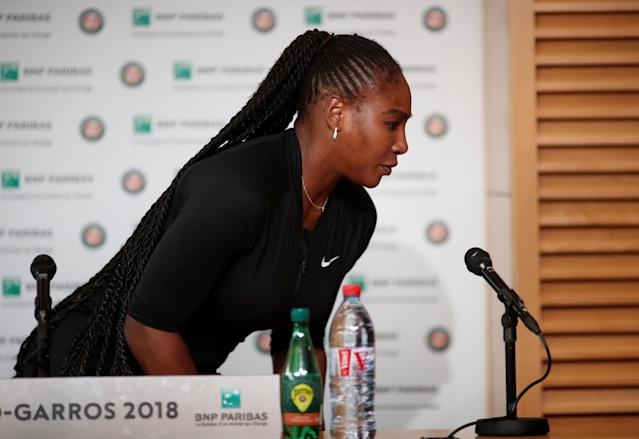 Tennis - French Open - Roland Garros, Paris, France - June 4, 2018 Serena Williams of the U.S during a press conference after withdrawing from French Open REUTERS/Benoit Tessier