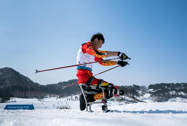 Xiaoming Gao CHN competes during the Cross-Country Skiing sitting Men's 15km at the Alpensia Biathlon Center. The Paralympic Winter Games, PyeongChang, South Korea, Sunday 11th March 2018. OIS/IOC/Bob Martin/Handout via Reuters