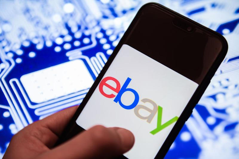 Ebay logo is seen on an android mobile phone
