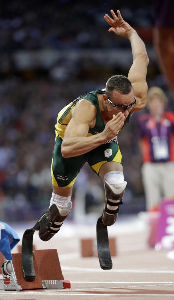 South Africa's Oscar Pistorius starts the 400-meter semifinals heat during the athletics competition in the Olympic Stadium at the 2012 Summer Olympics, London, Sunday, Aug. 5, 2012. (AP Photo/Lee Jin-man)