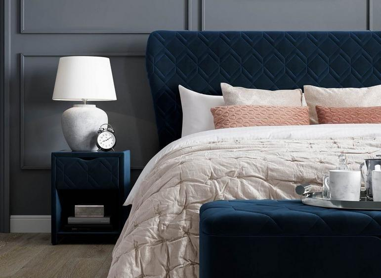 """<p>A dark on dark colour palette can be a daunting choice in the home, but it works particularly well in the bedroom – pops of bright colours simply aren't as restful. This moody combination of dark grey and midnight blue can make for a sophisticated set up, especially when used on luxurious surfaces such as velvet. </p><p>Pictured: <a href=""""https://www.dreams.co.uk/neva-velvet-finish-ottoman-bed-frame/p/251-00340"""" rel=""""nofollow noopener"""" target=""""_blank"""" data-ylk=""""slk:House Beautiful Neva Ottoman Bed at Dreams"""" class=""""link rapid-noclick-resp"""">House Beautiful Neva Ottoman Bed at Dreams</a></p>"""