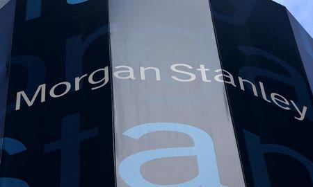 Corporate logo of financial firm Morgan Stanley in New York, New York