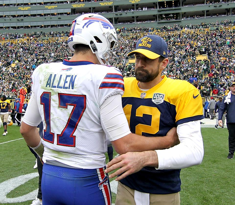 Aaron Rodgers and Josh Allen greet each other after a 2019 game. (Photo by Dylan Buell/Getty Images)