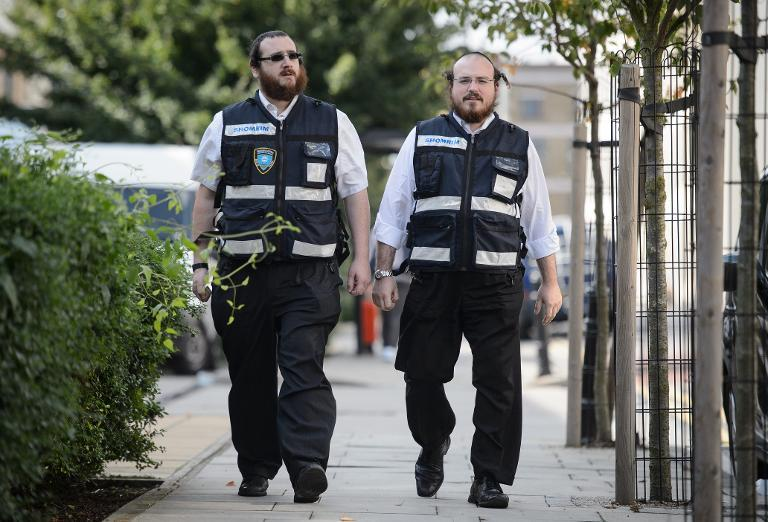 Members of the Jewish 'Shomrim' security patrol team are pictured in north London on August 27, 2014