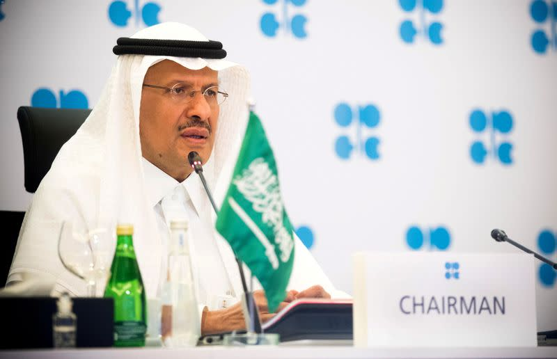 FILE PHOTO: Saudi Arabia's Minister of Energy Prince Abdulaziz bin Salman Al-Saud speaks via video link during a virtual emergency meeting of OPEC and non-OPEC countries, following the outbreak of the coronavirus disease (COVID-19), in Riyadh