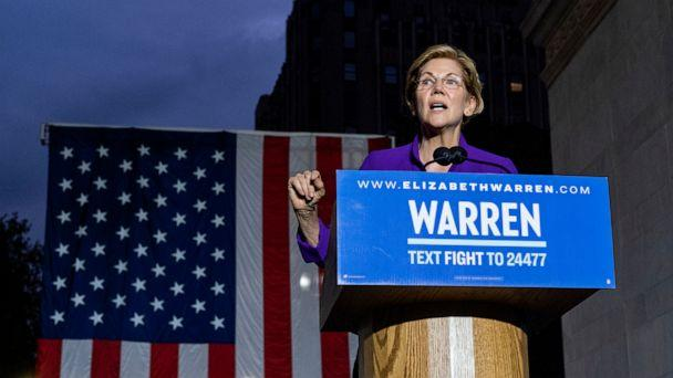 PHOTO: Democratic presidential candidate Sen. Elizabeth Warren addresses supporters at a rally, Sept. 16, 2019, in New York. (Craig Ruttle/AP)
