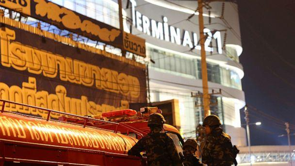 PHOTO: Thai soldiers are seen behind a defensive line outside the Terminal 21 shopping mall, after a suspected Thai soldier opened fire in a rampage in Nakhon Ratchasima province, Thailand, Feb. 8, 2020. (Narong Sangnak/EPA via Shutterstock)