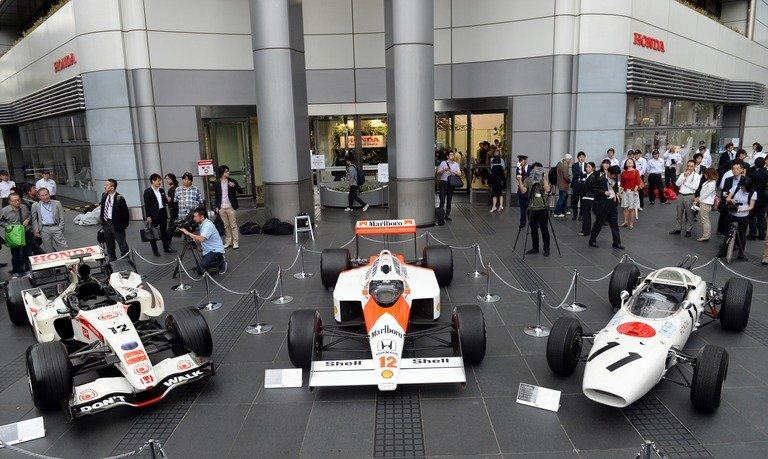 Three generations of Honda Formula One cars on display in Tokyo, on May 16, 2013