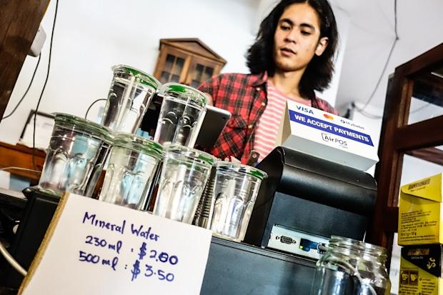 Analog Cafe had to stop offering free filtered water to customers during the water supply disruptions and had to start selling bottled mineral water.