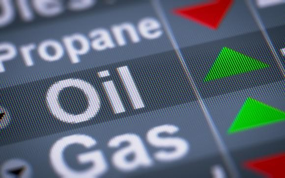 Oil and gas commodity prices on a screen