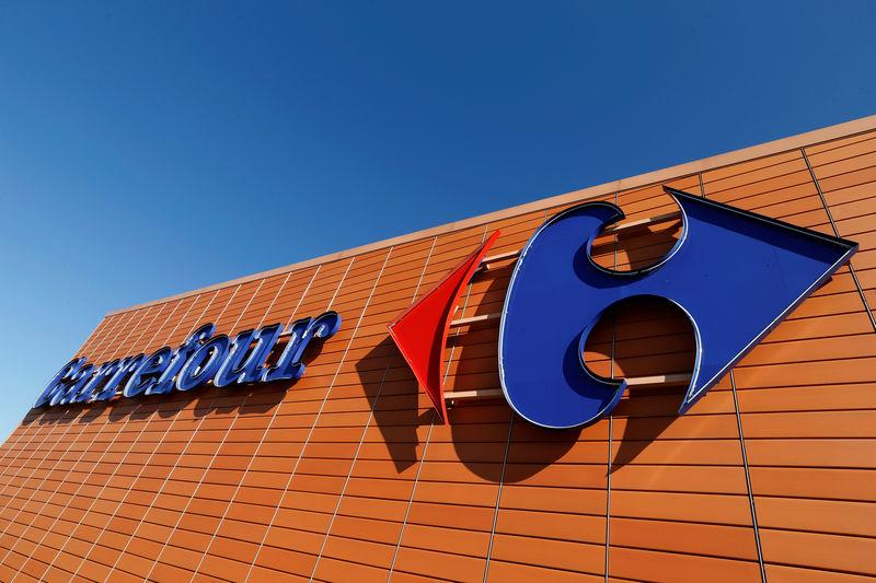 A Carrefour logo is seen on a Carrefour Hypermarket store in Toulouse