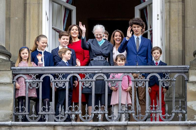 Queen Margrethe was joined by not only Princess Mary and her kids but also her youngest son, Prince Joachim, and his wife Princess Marie, along with their four children. Photo: Getty Images