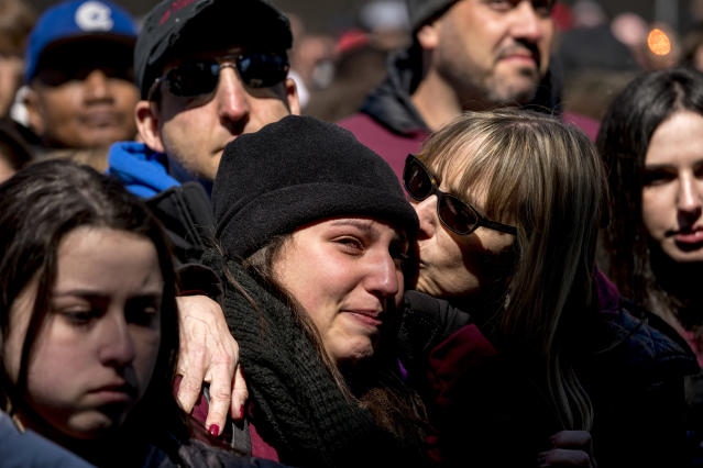 <p>Members of the audience become emotional as Edna Chavez, of Manual Arts High, south of downtown Los Angeles, speaks during the 'March for Our Lives' rally in support of gun control in Washington, Saturday, March 24, 2018. (AP Photo/Andrew Harnik) </p>
