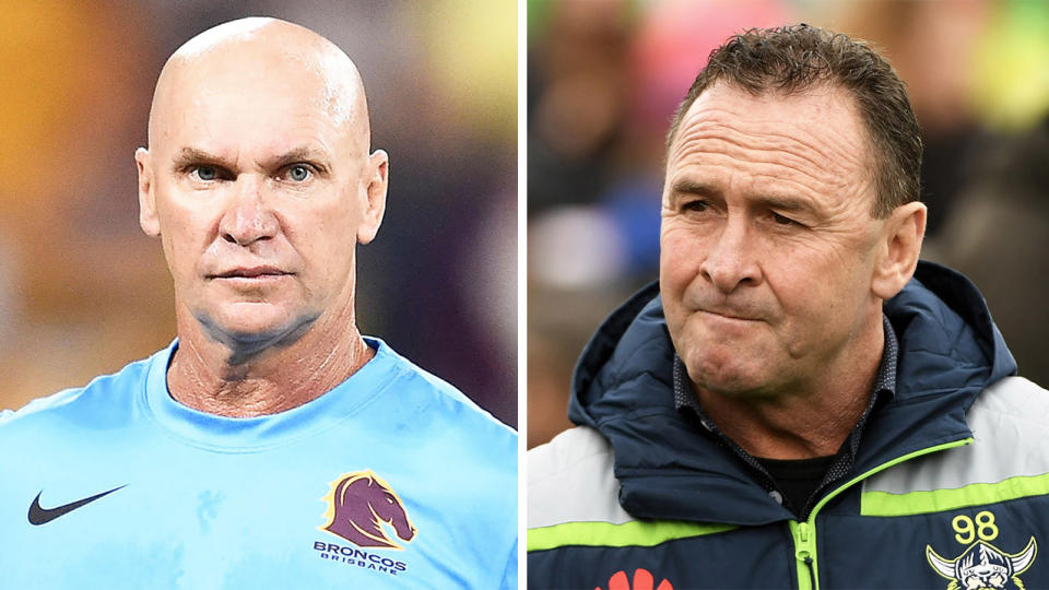 Ricky Stuart (pictured right) has taken a crack at the NRL stars including Alfie Langer (pictured left) that have breached the code's biosecurity protocol.  (Getty Images)
