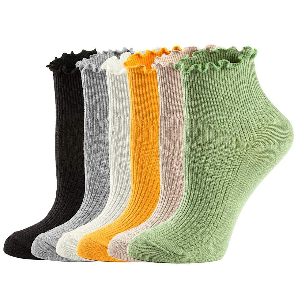 """<h3><a href=""""https://amzn.to/3bPHdBy"""" rel=""""nofollow noopener"""" target=""""_blank"""" data-ylk=""""slk:Cotton Ruffle Socks"""" class=""""link rapid-noclick-resp"""">Cotton Ruffle Socks</a></h3><br><strong>Ruby</strong><br><br><strong>How She Discovered It:</strong> """"I was browsing for interesting socks, like always! And I am always on the hunt for high-cotton blends that don't feel cheapy.""""<br><br><strong>Why It's A Hidden Gem:</strong> """"I mostly wear loafers and oxfords, which I love pairing with skirts or cropped pants and kooky socks or colorful socks, and this six-pack of cute ankle socks was a no-brainer!""""<br><br><strong>MCool Mary</strong> Ankle Ruffle Socks (6 Pack), $, available at <a href=""""https://www.amazon.com/gp/product/B07L1VCYYB/ref=ox_sc_act_title_4"""" rel=""""nofollow noopener"""" target=""""_blank"""" data-ylk=""""slk:Amazon"""" class=""""link rapid-noclick-resp"""">Amazon</a>"""