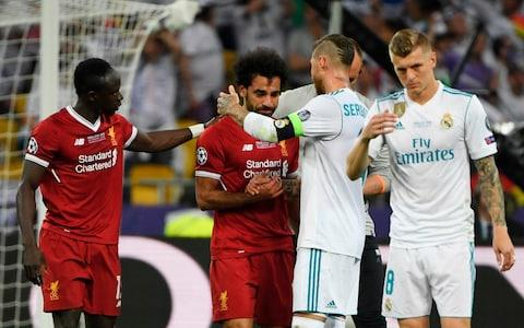 Salah is comforted by Ramos - Credit: PAUL ELLIS/AFP/Getty Images