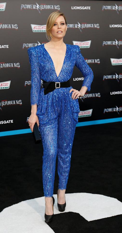 <p>Elizabeth went for a seriously fashion forward look, wearing a sparkly blue jumpsuit by Zuhair Murad.<br /><i>[Photo: Reuters]</i> </p>