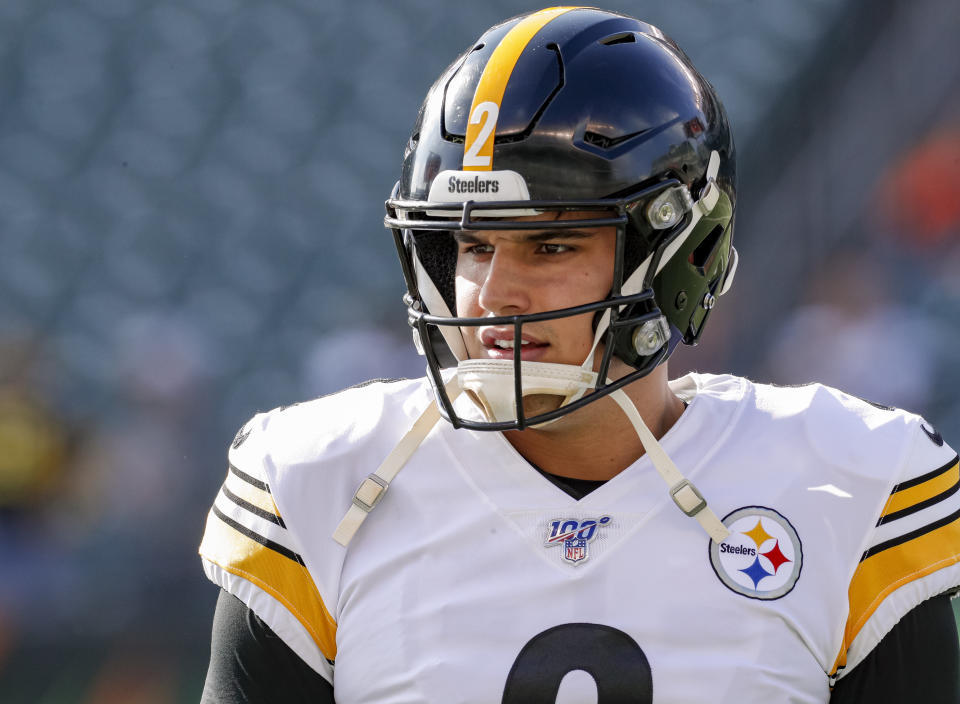 CINCINNATI, OH - NOVEMBER 24: Mason Rudolph #2 of the Pittsburgh Steelers is seen before the game against the Cincinnati Bengals at Paul Brown Stadium on November 24, 2019 in Cincinnati, Ohio. (Photo by Michael Hickey/Getty Images)