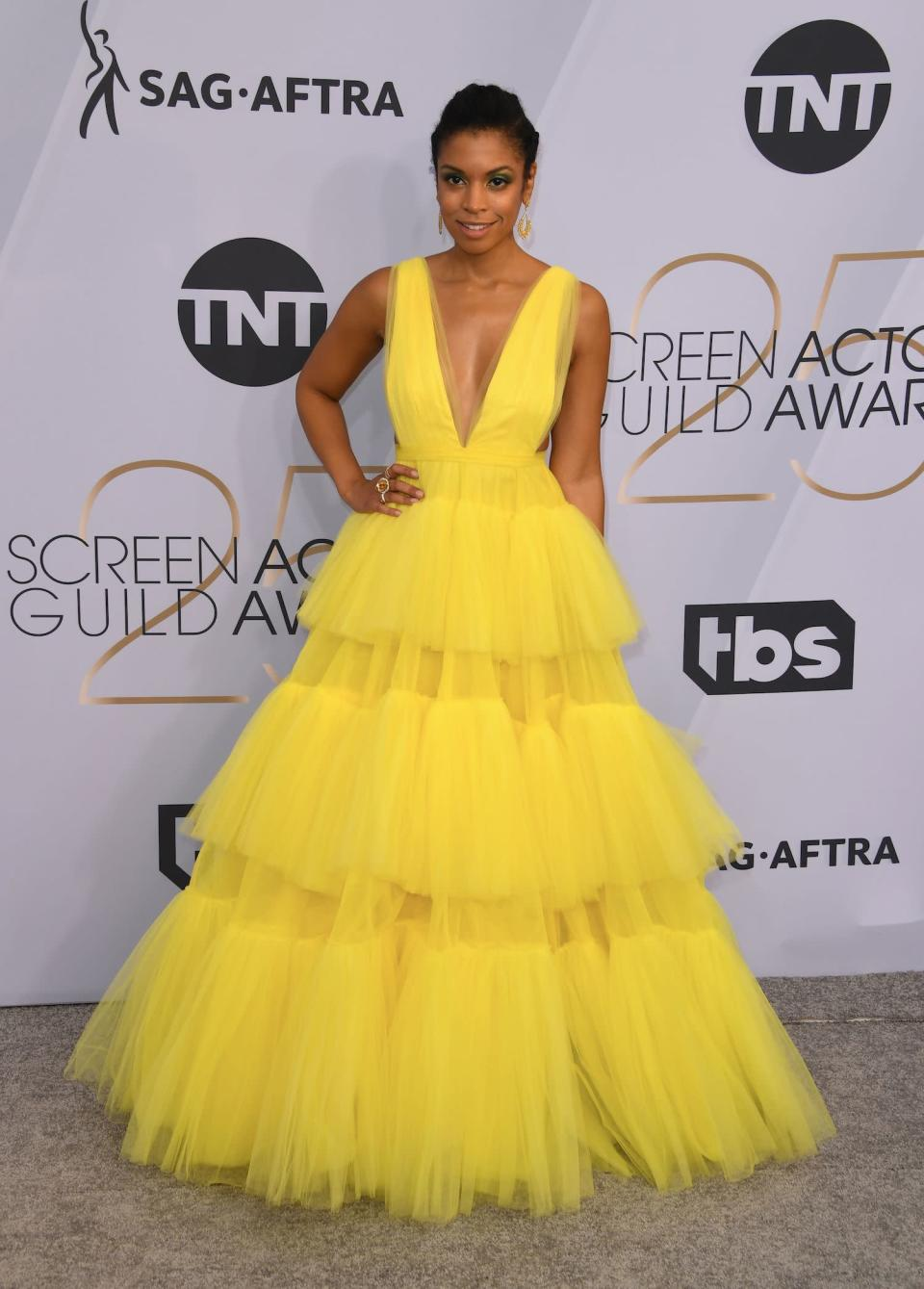 <p>Susan Kelechi Watson brightened up the carpet at the 2019 Screen Actors Guild Awards in Los Angeles. (Photo: Getty Images) </p>