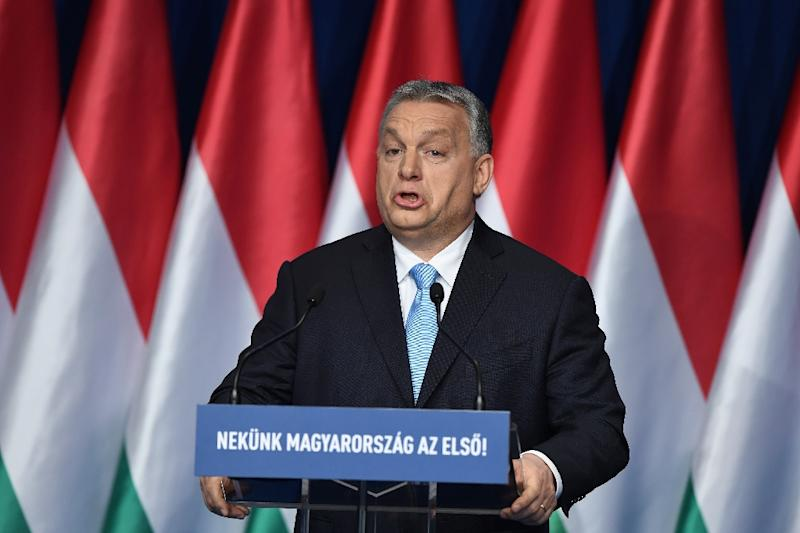 Hungarian Prime Minister Viktor Orban delivers his state of the nation speech in front of his Fidesz party members and sympathizers (AFP Photo/ATTILA KISBENEDEK)