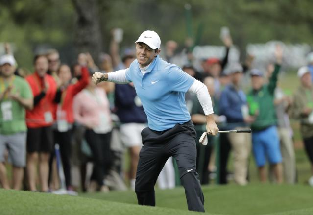 "<a class=""link rapid-noclick-resp"" href=""/pga/players/8016/"" data-ylk=""slk:Rory McIlroy"">Rory McIlroy</a> gets the crowd pumped up after draining an eagle on the eighth hole during the third round at the Masters. (AP Photo)"