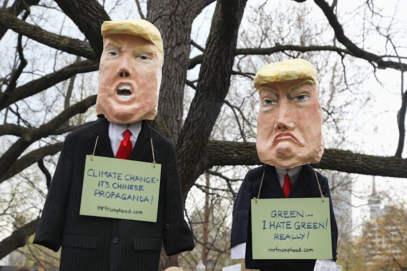 Effigies of President Donald Trump have become common at climate marches over the past two years. (NurPhoto via Getty Images)