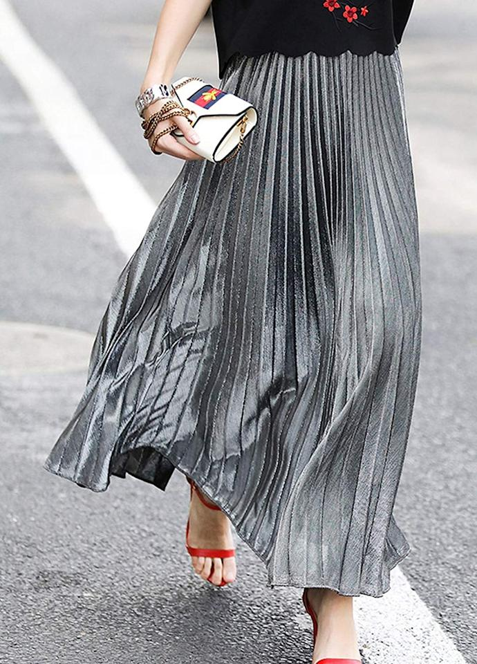 "<p>This fun <a href=""https://www.popsugar.com/buy/Chartou-Metallic-Shiny-Pleated-Skirt-512895?p_name=Chartou%20Metallic%20Shiny%20Pleated%20Skirt&retailer=amazon.com&pid=512895&price=20&evar1=fab%3Aus&evar9=46859993&evar98=https%3A%2F%2Fwww.popsugar.com%2Fphoto-gallery%2F46859993%2Fimage%2F46860975%2FChartou-Metallic-Shiny-Pleated-Skirt&list1=shopping%2Camazon%2Choliday%2Cwinter%20fashion%2Choliday%20fashion%2C50%20under%20%2450%2Cgifts%20for%20women%2Caffordable%20shopping&prop13=api&pdata=1"" rel=""nofollow"" data-shoppable-link=""1"" target=""_blank"" class=""ga-track"" data-ga-category=""Related"" data-ga-label=""https://www.amazon.com/Chartou-Premium-Metallic-Accordion-XX-Large/dp/B077KX7KZJ/ref=sr_1_57?crid=ZY7IGRZMHWV7&amp;dchild=1&amp;keywords=tulle%2Bskirt%2Bfor%2Bwomen&amp;qid=1573068552&amp;s=apparel&amp;sprefix=tulle%2Bskirt%2Caps%2C230&amp;sr=1-57&amp;th=1&amp;psc=1"" data-ga-action=""In-Line Links"">Chartou Metallic Shiny Pleated Skirt</a> ($20) comes in a few colors.</p>"