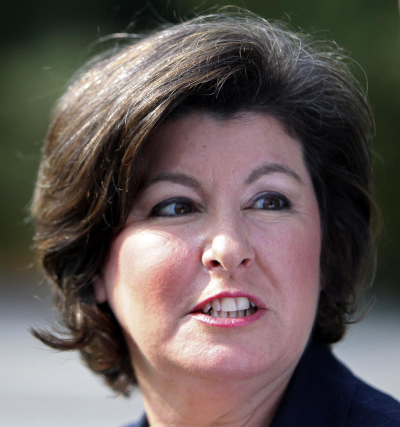 FILE - In a Tuesday Aug. 10, 2010 file photo, Georgia gubernatorial candidate Karen Handel speaks to reporters after casting her ballot in the Georgia runoff election in Roswell, Ga. Handel said Friday May 17, 2013 she'll be running for an open U.S. Senate seat in Georgia.  (AP Photo/John Bazemore, File)