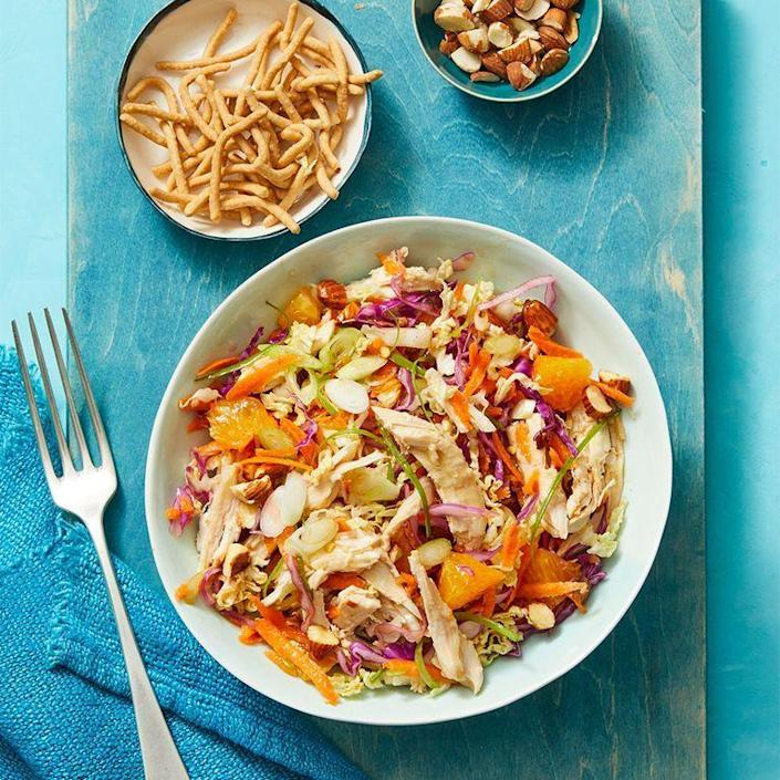 "<p>Who says chicken has to the the go-to salad meat? Get out of your salad rut with this colorful turkey-accented dish. </p><p><em><a href=""https://www.womansday.com/food-recipes/food-drinks/a29464872/crunchy-turkey-salad-with-oranges-recipe/"" rel=""nofollow noopener"" target=""_blank"" data-ylk=""slk:Get the Crunchy Turkey Salad with Oranges recipe."" class=""link rapid-noclick-resp"">Get the Crunchy Turkey Salad with Oranges recipe. </a></em></p>"