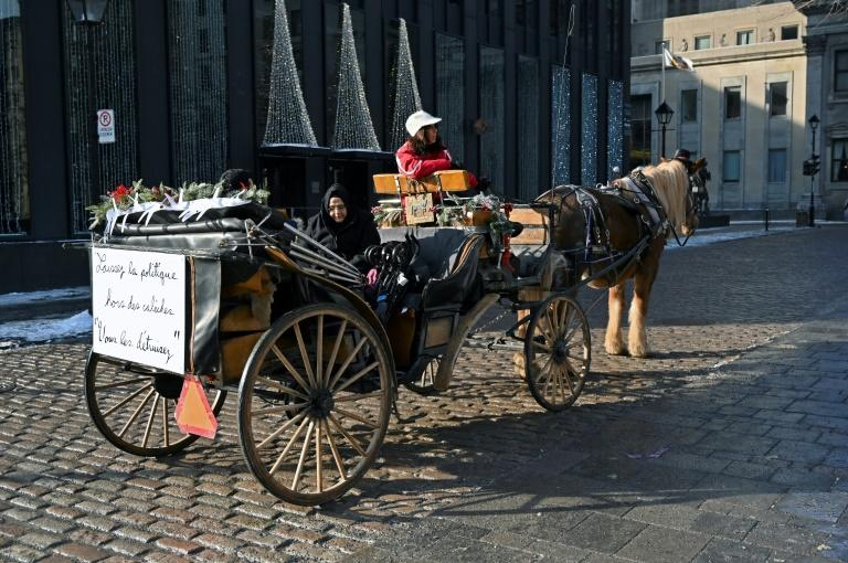 A horse-drawn carriage passes by in a street of Old Montreal, Quebec, Canada on December 22, 2019.Montreal's horse-drawn carriages will be taken off the roads on December 31, ending a long feud between the city and coachmen and a quaint means of local travel that dates back to the 1600s. (AFP Photo/Eric THOMAS)