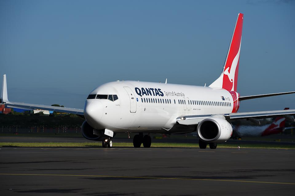 A Qantas Boeing 737-800 aircraft is seen on the taxi way at Sydney Domestic Airport.