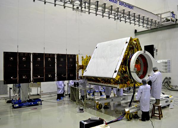 RISAT-1 with one of its solar panel wings deployed.The satellite's microwave remote sensors can take images through fog and cloud.