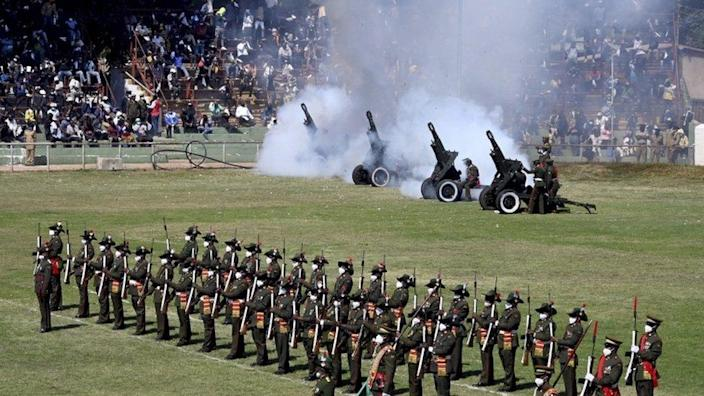 A military salute at the memorial service of the President of Zambia, Dr Kenneth Kaunda