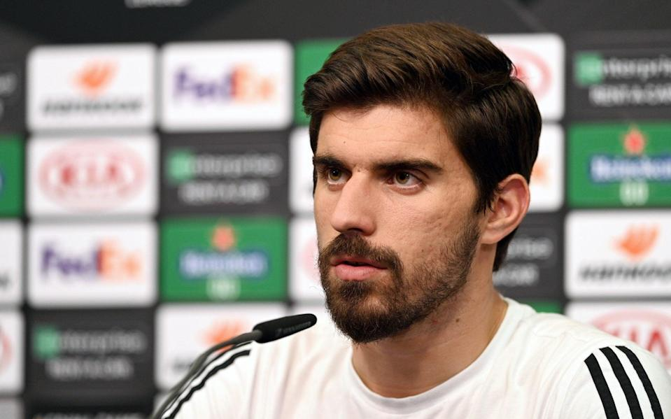 Ruben Neves of Wolverhampton Wanderers speaks to the media during a press conference ahead of their UEFA Europa League Quarter Final match against Sevilla  - Getty Images