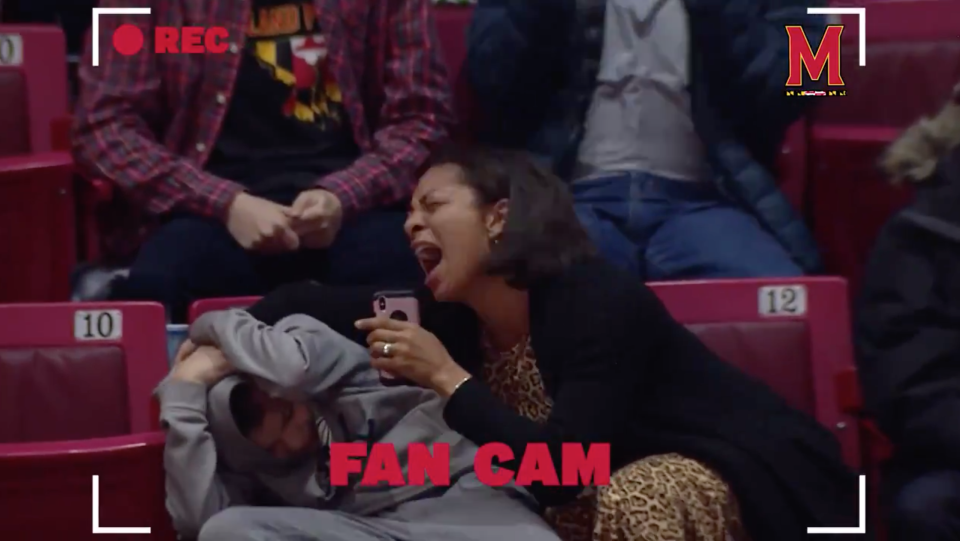 Mandy Remmell and her son, Blake, attended a University of Maryland basketball game together on Tuesday night, and the Fan Cam fell on the pair in the crowd. (Photo: @TerrapinHoops via Twitter)