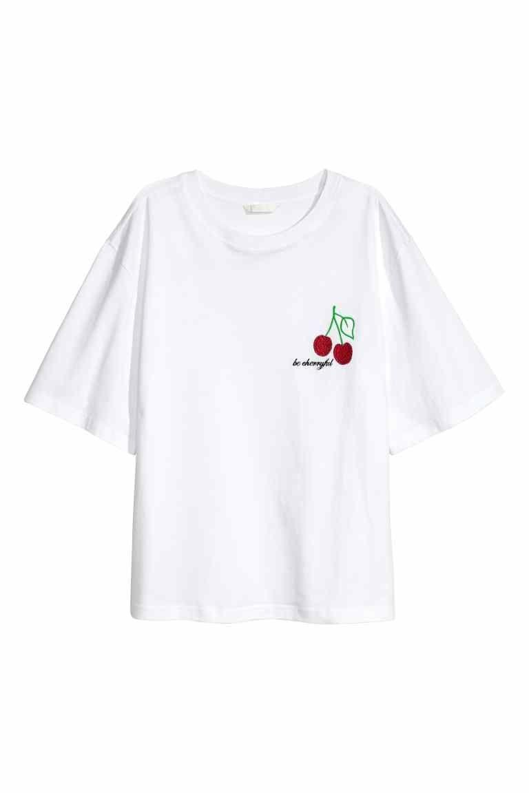 """<p>'Be cherryful' white T-shirt. Available at <a href=""""http://www2.hm.com/en_gb/productpage.0547257001.html#White/Cherry"""" rel=""""nofollow noopener"""" target=""""_blank"""" data-ylk=""""slk:H&M - £12.99"""" class=""""link rapid-noclick-resp"""">H&M - £12.99</a></p>"""