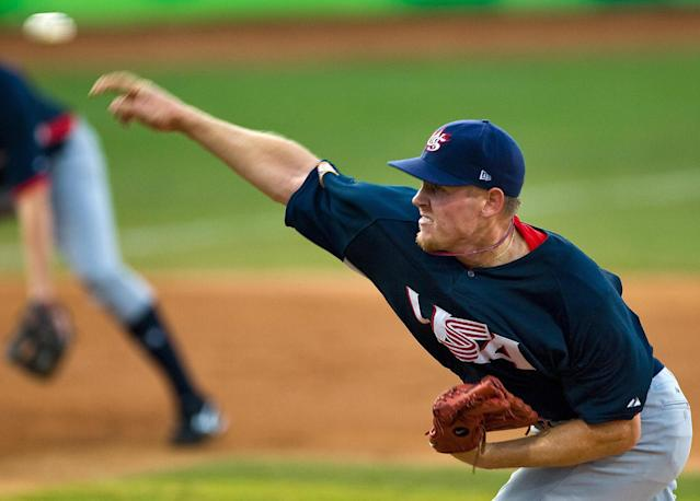 <p>Washington Nationals pitcher Stephen Strasburg was the lone collegiate player chosen for the United States national team at the 2008 Summer Games in Beijing. He helped pitch the U.S. to a bronze medal and was drafted number one overall in the Major League Baseball Draft the following year. (Getty) </p>