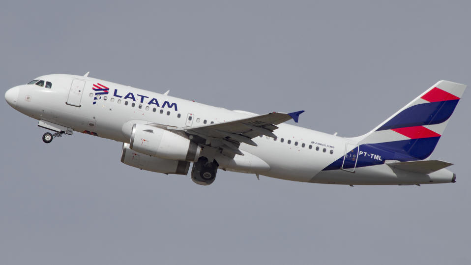 Airbus a319 of Latam Airlines at GRU Airport, Guarulhos, Sao Paulo, Brazil 2020