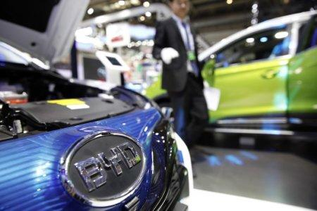 FILE PHOTO - The logo of BYD is seen on a car presented at the Auto China 2016 auto show in Beijing, China, April 29, 2016. REUTERS/Damir Sagolj