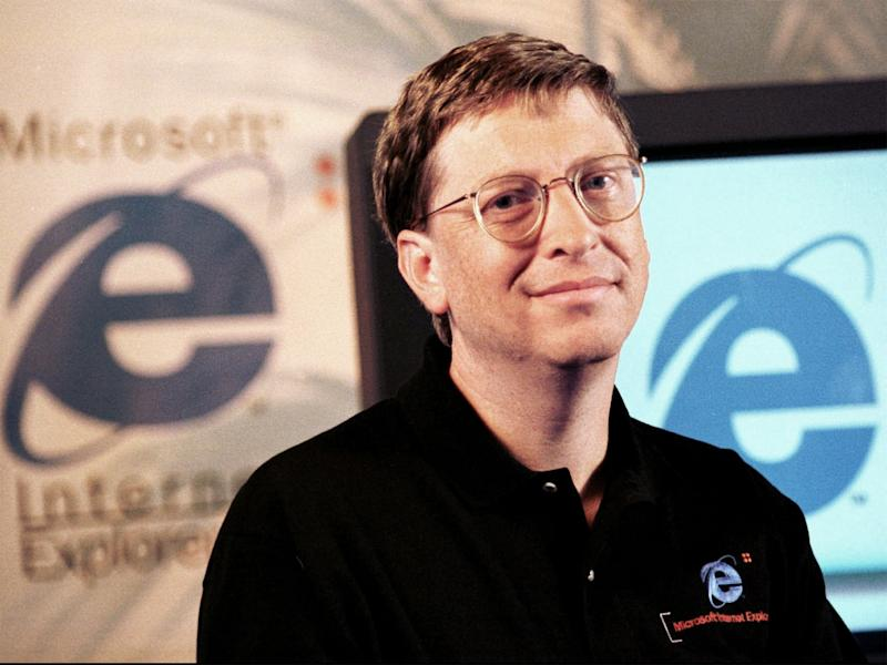 Bill Gates at the launch of an early Internet Explorer update