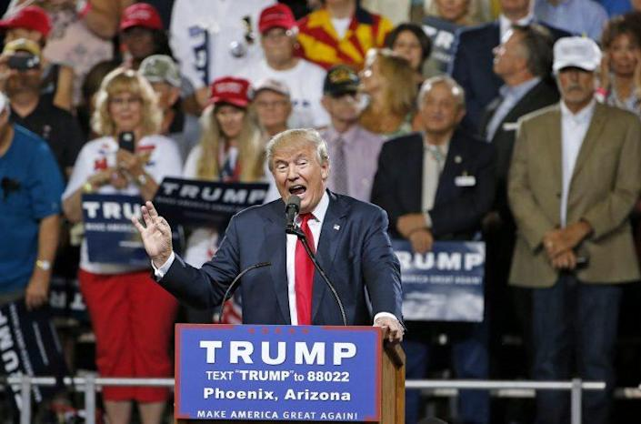 Donald Trump speaks at a rally in Phoenix. (Photo: Ross D. Franklin/Associated Press)