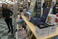 A display of President-elect Joe Biden and Jill Biden books and keepsakes are available at Browseabout Books, Friday, Nov. 13, 2020, in Rehoboth Beach, Del. President-elect Joe Biden owns a $2.7 million, Delaware North Shores home with a swimming pool that overlooks Cape Henlopen State Park, is blocks from the ocean and a short drive from downtown Rehoboth Beach.(AP Photo/Alex Brandon)